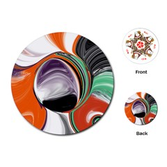 Abstract Orb In Orange, Purple, Green, And Black Playing Cards (round)