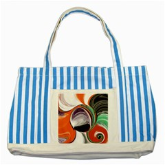 Abstract Orb In Orange, Purple, Green, And Black Striped Blue Tote Bag