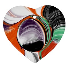 Abstract Orb in Orange, Purple, Green, and Black Heart Ornament (2 Sides)