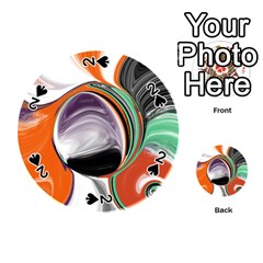 Abstract Orb in Orange, Purple, Green, and Black Playing Cards 54 (Round)