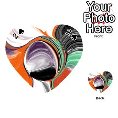 Abstract Orb In Orange, Purple, Green, And Black Playing Cards 54 (heart)