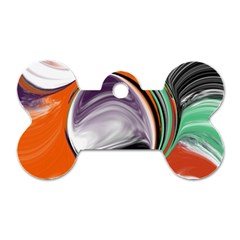 Abstract Orb In Orange, Purple, Green, And Black Dog Tag Bone (two Sides)