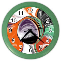 Abstract Orb in Orange, Purple, Green, and Black Color Wall Clocks