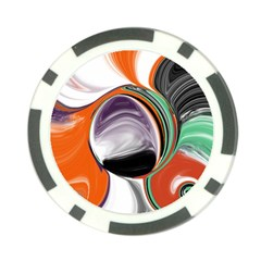 Abstract Orb In Orange, Purple, Green, And Black Poker Chip Card Guards (10 Pack)