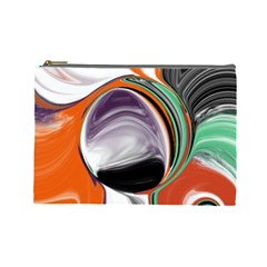 Abstract Orb In Orange, Purple, Green, And Black Cosmetic Bag (large)