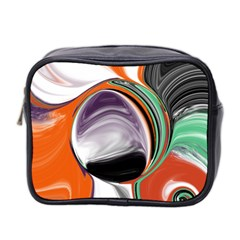 Abstract Orb In Orange, Purple, Green, And Black Mini Toiletries Bag 2 Side