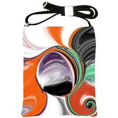 Abstract Orb in Orange, Purple, Green, and Black Shoulder Sling Bags