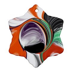 Abstract Orb In Orange, Purple, Green, And Black Ornament (snowflake)