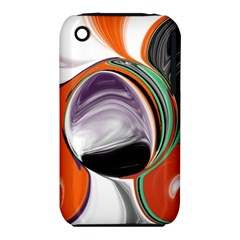 Abstract Orb In Orange, Purple, Green, And Black Apple Iphone 3g/3gs Hardshell Case (pc+silicone)