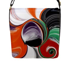 Abstract Orb In Orange, Purple, Green, And Black Flap Messenger Bag (l)