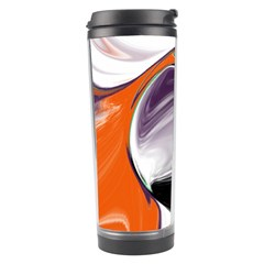 Abstract Orb In Orange, Purple, Green, And Black Travel Tumbler