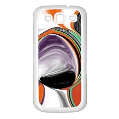 Abstract Orb in Orange, Purple, Green, and Black Samsung Galaxy S3 Back Case (White)