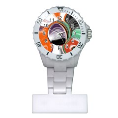 Abstract Orb in Orange, Purple, Green, and Black Plastic Nurses Watch