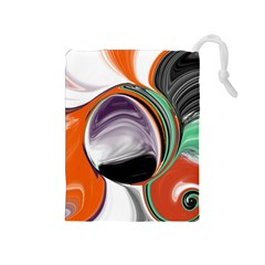 Abstract Orb In Orange, Purple, Green, And Black Drawstring Pouches (medium)