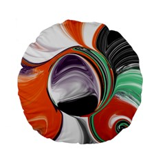 Abstract Orb in Orange, Purple, Green, and Black Standard 15  Premium Flano Round Cushions