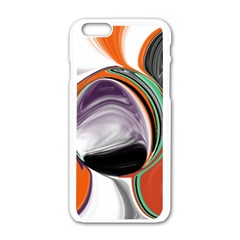 Abstract Orb in Orange, Purple, Green, and Black Apple iPhone 6/6S White Enamel Case