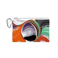 Abstract Orb In Orange, Purple, Green, And Black Canvas Cosmetic Bag (s)