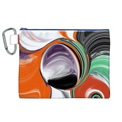 Abstract Orb In Orange, Purple, Green, And Black Canvas Cosmetic Bag (xl)