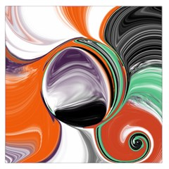 Abstract Orb In Orange, Purple, Green, And Black Large Satin Scarf (square)