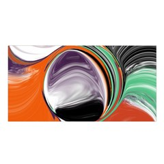 Abstract Orb In Orange, Purple, Green, And Black Satin Shawl