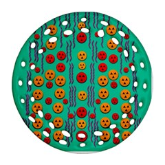 Pumkins Dancing In The Season Pop Art Ornament (Round Filigree)