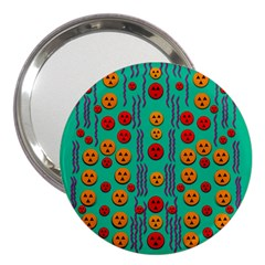 Pumkins Dancing In The Season Pop Art 3  Handbag Mirrors