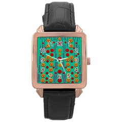 Pumkins Dancing In The Season Pop Art Rose Gold Leather Watch