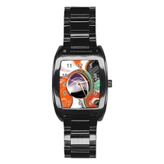 Abstract Orb Stainless Steel Barrel Watch