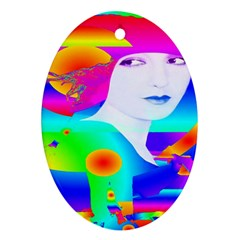 Abstract Color Dream Oval Ornament (two Sides)