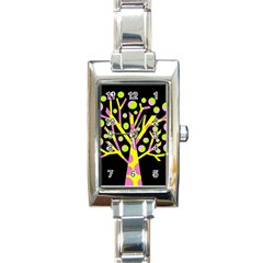 Simple colorful tree Rectangle Italian Charm Watch