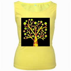 Simple colorful tree Women s Yellow Tank Top