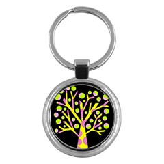 Simple colorful tree Key Chains (Round)