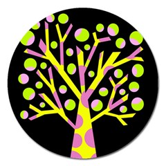Simple colorful tree Magnet 5  (Round)