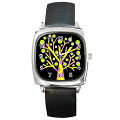 Simple colorful tree Square Metal Watch