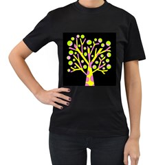 Simple colorful tree Women s T-Shirt (Black) (Two Sided)