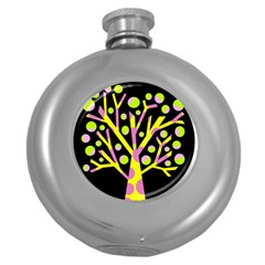 Simple colorful tree Round Hip Flask (5 oz)