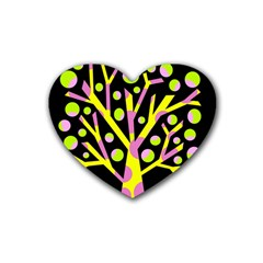 Simple colorful tree Rubber Coaster (Heart)