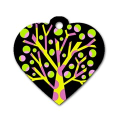 Simple colorful tree Dog Tag Heart (One Side)