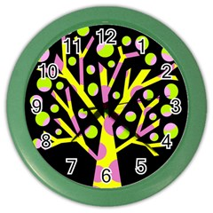 Simple colorful tree Color Wall Clocks