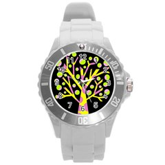 Simple colorful tree Round Plastic Sport Watch (L)