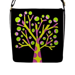Simple colorful tree Flap Messenger Bag (L)