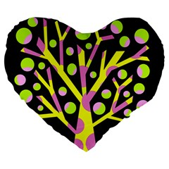 Simple colorful tree Large 19  Premium Flano Heart Shape Cushions