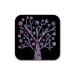 Purple magical tree Rubber Coaster (Square)