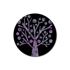 Purple magical tree Rubber Round Coaster (4 pack)