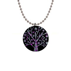 Purple magical tree Button Necklaces