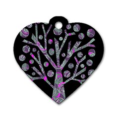 Purple magical tree Dog Tag Heart (One Side)