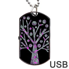 Purple magical tree Dog Tag USB Flash (Two Sides)