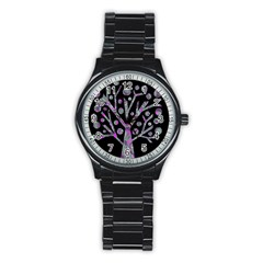 Purple magical tree Stainless Steel Round Watch