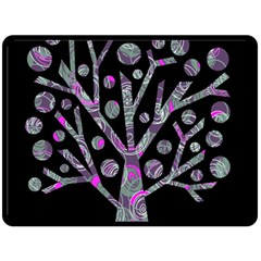 Purple magical tree Double Sided Fleece Blanket (Large)