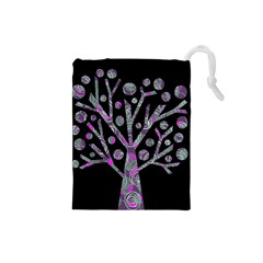 Purple magical tree Drawstring Pouches (Small)